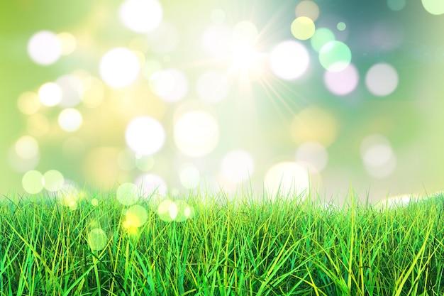 Il rendering 3d di erba verde su uno sfondo bokeh luci Foto Gratuite