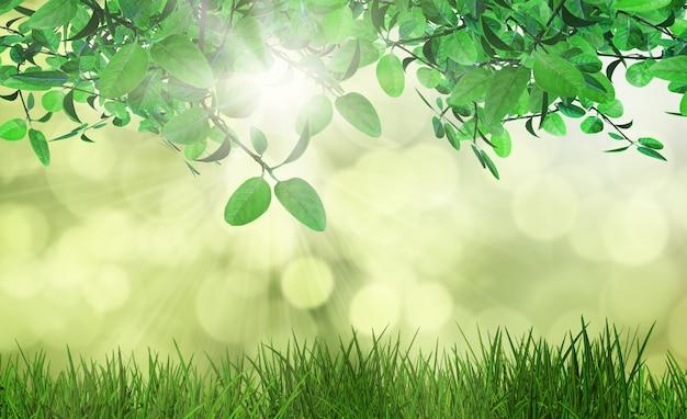 Il rendering 3d di foglie ed erba su uno sfondo defocussed Foto Gratuite