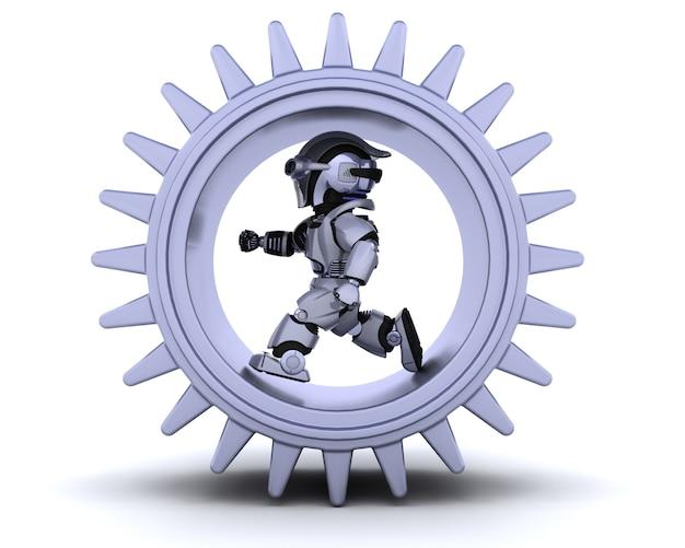 Il rendering 3d di robot con meccanismo ad ingranaggi for Rendering 3d gratis
