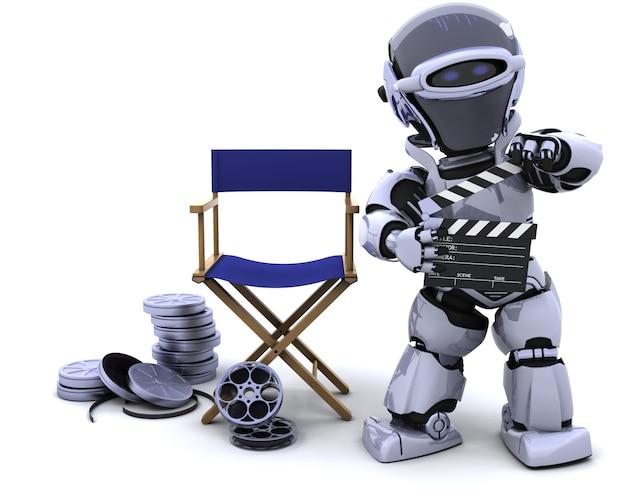 Il rendering 3d di robot con tavole battaglio e bobine di film Foto Gratuite