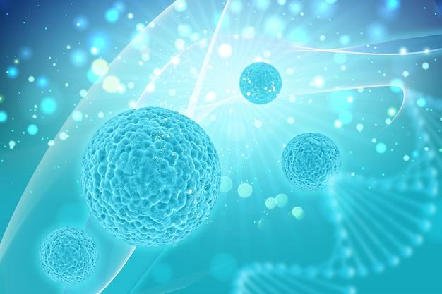 Il rendering 3d di un background medico con le cellule del virus Foto Gratuite