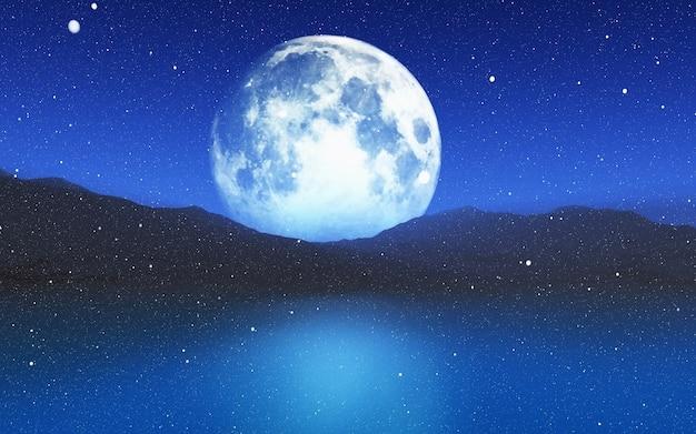 Il rendering 3d di un paesaggio innevato con un cielo illuminato dalla luna Foto Gratuite