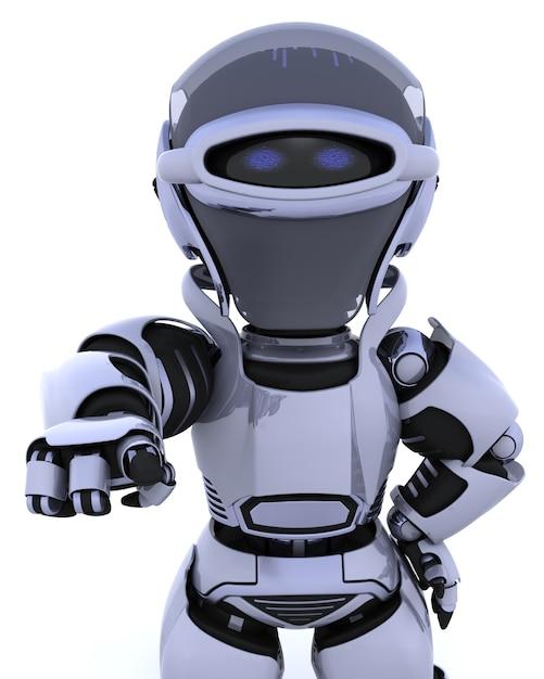 Il rendering 3d di un robot che punta fuori di te Foto Gratuite