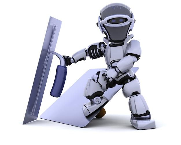 Il rendering 3d di un robot con strumenti di intonacatura for Rendering 3d online gratis