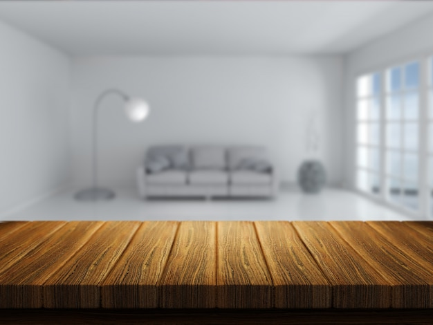 Il rendering 3d di un tavolo di legno con interni stanza in background Foto Gratuite