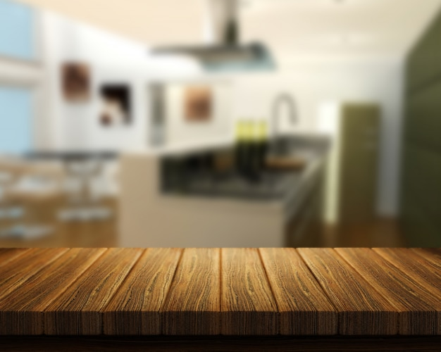 Il rendering 3d di un tavolo di legno con una cucina in background ...