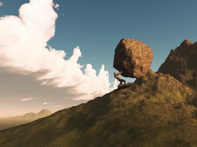 Il rendering 3d di una figura maschile che spinge una grande roccia su una montagna Foto Gratuite