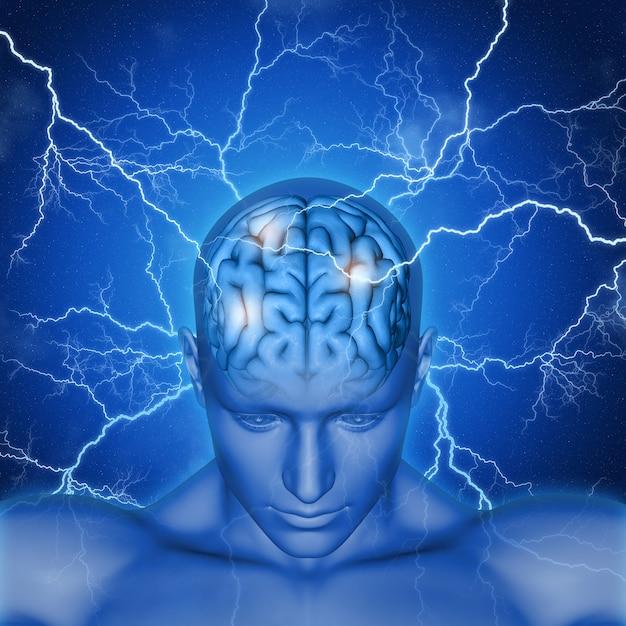 Il rendering 3d di una testa maschile e cervello con fulmini Foto Gratuite