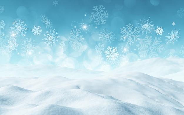 Il rendering 3d di uno sfondo di natale con la neve Foto Gratuite