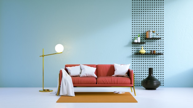 Pavimento Rosso E Bianco : Il salone d annata il sofà rosso sul pavimento bianco e la parete