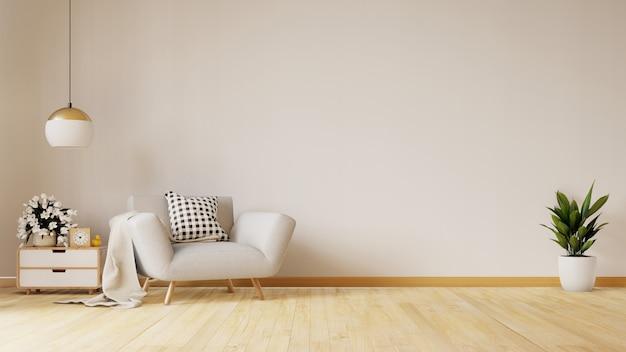 Il salone moderno con la poltrona blu ha scaffali del gabinetto e di legno sulla pavimentazione di legno e sulla parete bianca, rappresentazione 3d Foto Premium