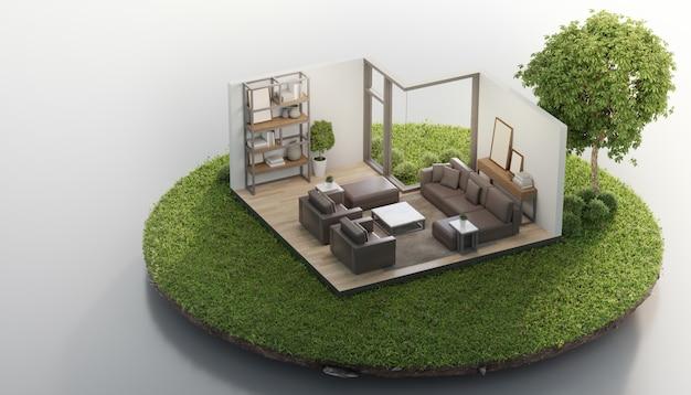 Il salone vicino al grande albero su terra minuscola atterra con erba verde nella vendita del bene immobile o nel concetto di investimento della proprietà. Foto Premium