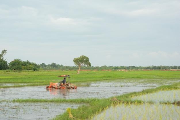 Il trattore che lavora ara un campo in fattoria per la semina Foto Premium