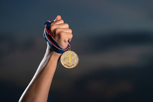 Il vincitore e il concetto di successo Foto Premium