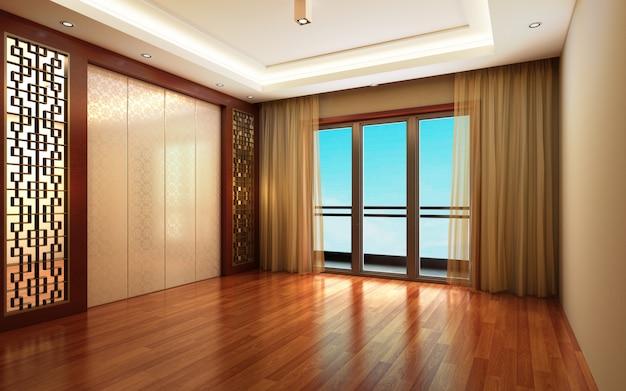 Illustrazione 3d bella camera calda e luminosa Foto Premium