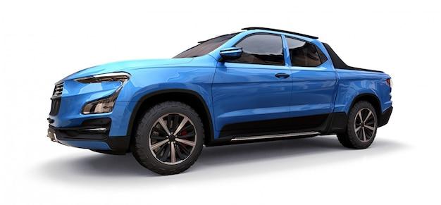 Illustrazione 3d del camioncino scoperto blu del carico di concetto su bianco isolato Foto Premium