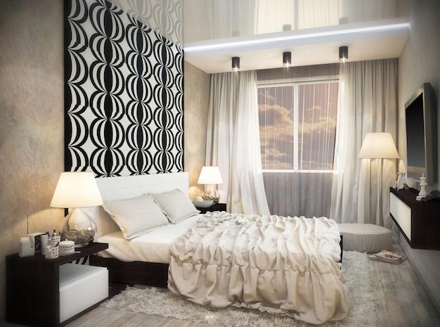 Illustrazione 3d del design di un bagno in colore bianco e nero Foto Premium