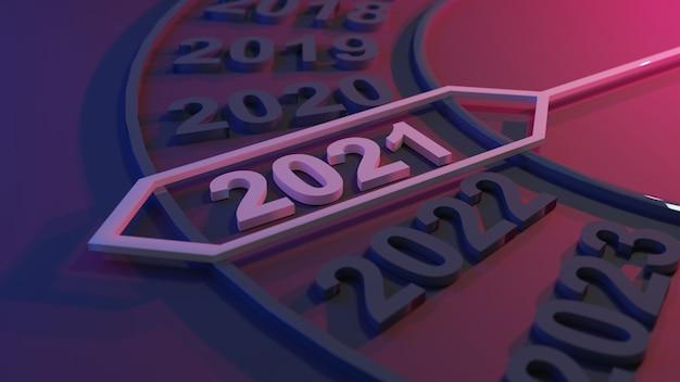 Illustrazione 3d del nuovo anno 2021 Foto Premium
