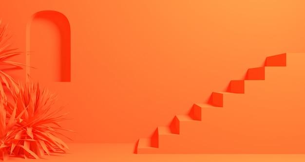 Illustrazione 3d di forma geometrica astratta di colore arancio & blu, esposizione o vetrina minimalista moderna del podio Foto Premium