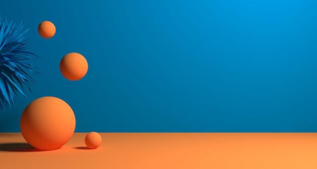 Illustrazione 3d di forma geometrica astratta di colore blu, dell'esposizione moderna minimalista del podio o della vetrina Foto Premium