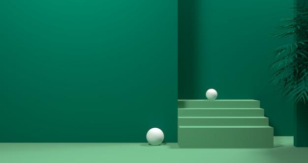 Illustrazione 3d di forma geometrica astratta di colore verde, dell'esposizione minimalista moderna del podio o della vetrina Foto Premium
