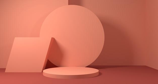 Illustrazione 3d di forma geometrica astratta di cora di corallo, esposizione moderna del podio minimalista o vetrina Foto Premium