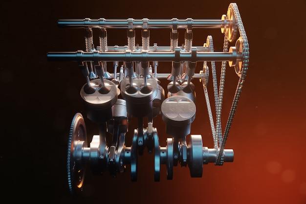 Illustrazione 3d di un motore a combustione interna. parti del motore, albero motore, pistoni, sistema di alimentazione del carburante. pistoni motore v6 con albero motore su sfondo nero. illustrazione del motore di automobile dentro. Foto Premium