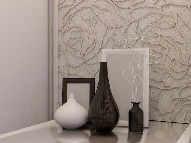 Illustrazione 3d di una camera da letto bianca in stile moderno Foto Premium