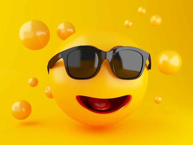 Illustrazione 3d icone emoji con espressioni facciali. concetto di social media. Foto Premium