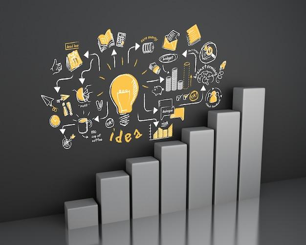 Illustrazione 3d istogramma con lo schizzo di affari alla parete. concetto di business e strategia. Foto Premium