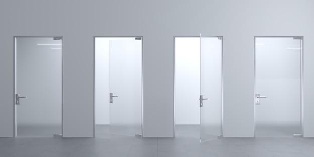 Illustrazione 3d porte moderne in vetro nella hall o nel corridoio. sfondo interno Foto Premium