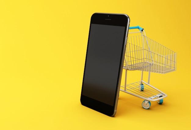 Illustrazione 3d. smartphone e carrello Foto Premium