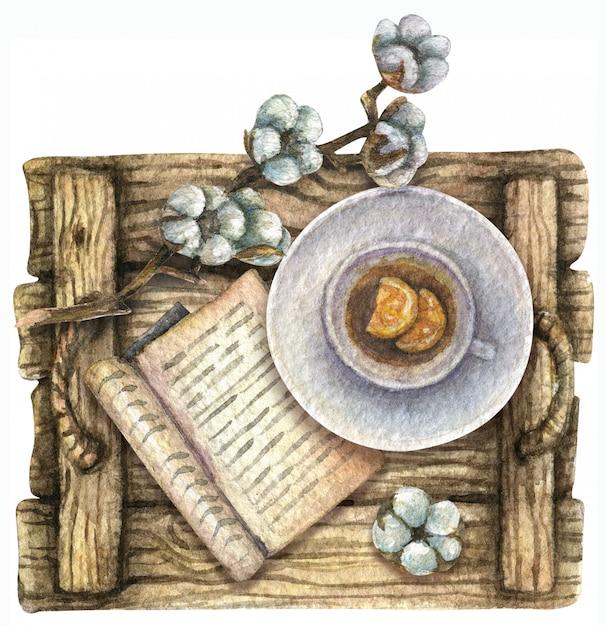 Illustrazione ad acquerello vista dall'alto. vassoio in legno con una tazza di tè e limone, un libro, in cotone. colazione. Foto Premium