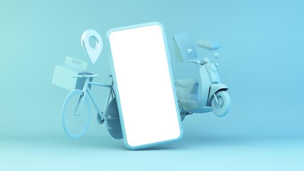 Illustrazione app consegna con dispositivo e oggetti di trasporto Foto Premium