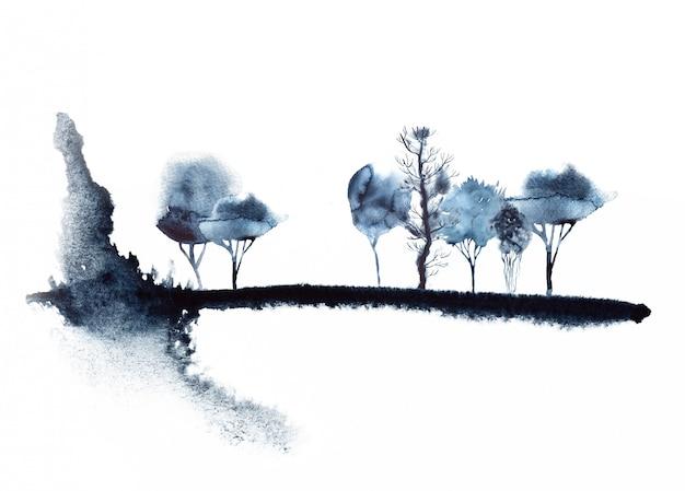 Illustrazione astratta della foresta dell'acquerello Foto Premium
