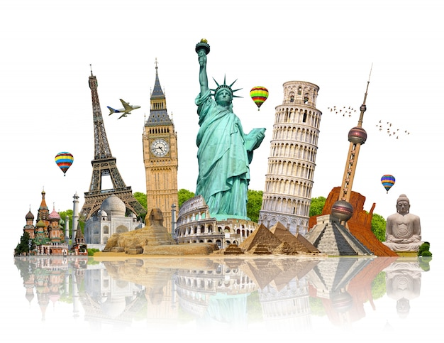 Illustrazione del famoso monumento del mondo Foto Premium