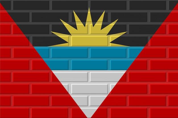 Illustrazione della bandiera del mattone dell'antigua e barbuda Foto Premium