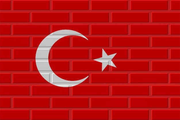 Illustrazione della bandiera del mattone della turchia Foto Premium