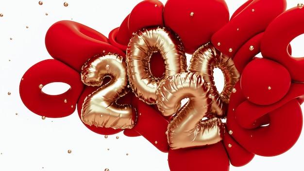 Illustrazione della rappresentazione 3d del nuovo anno 2020. forme astratte in oro rosso e metallico con scritte in numeri di lamina. Foto Premium
