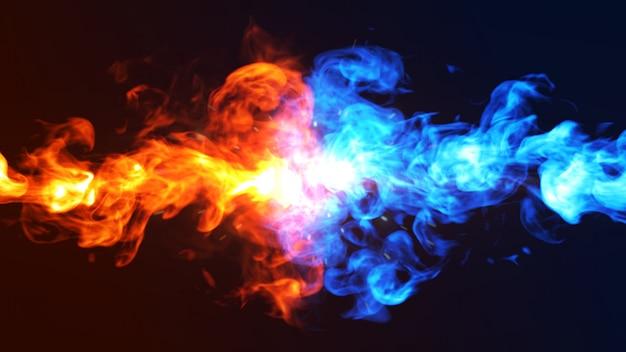 Illustrazione di concetto 3d del ghiaccio e del fuoco. Foto Premium