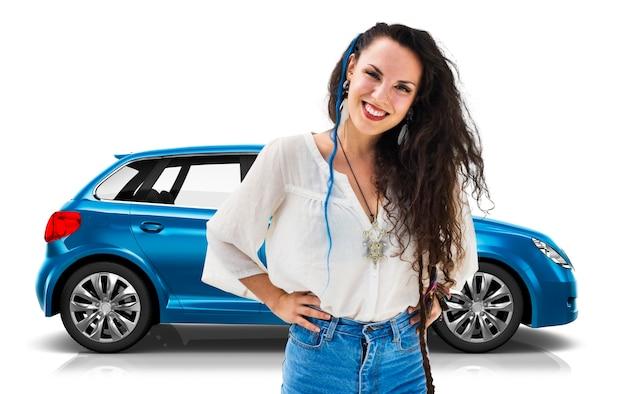 Illustrazione di un'automobile hatchback blu con una donna Foto Gratuite