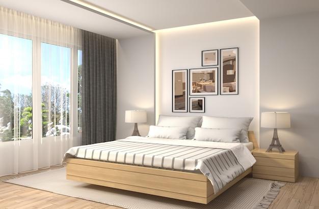Illustrazione rendering interni camera da letto Foto Premium