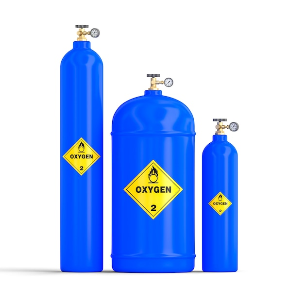 Immagine 3d delle bombole di ossigeno del gas Foto Premium