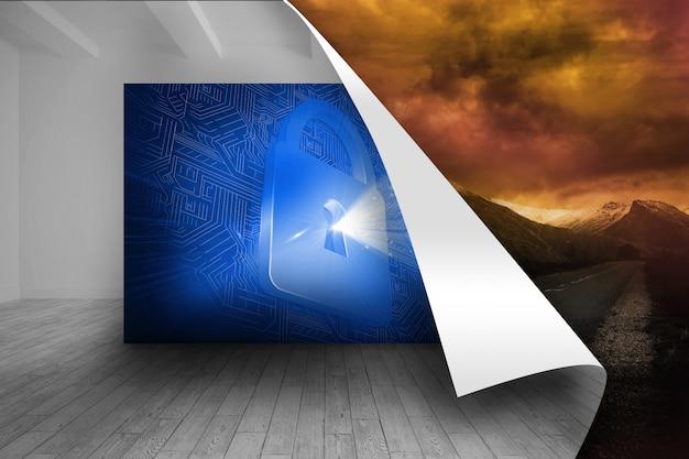Immagine blu della serratura su sfondo tempestoso Foto Premium