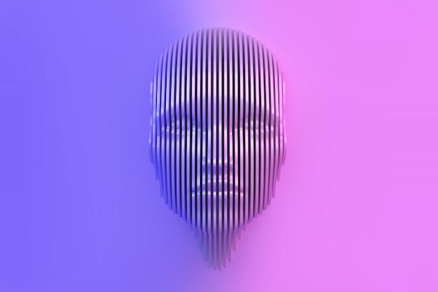 Immagine concettuale della testa femminile ritagliata dal muro e che esce dal muro. Foto Premium