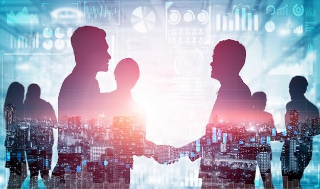 Immagine doppia esposizione di molti uomini d'affari. Foto Premium