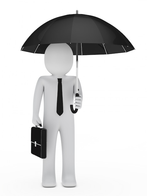 Impiegato con la cartella e l'ombrello Foto Gratuite