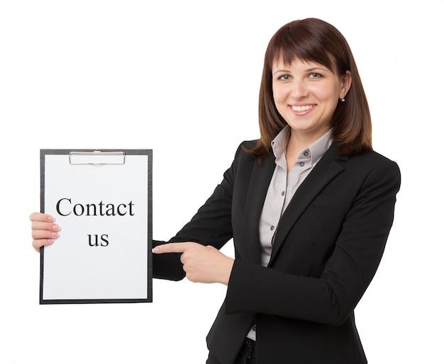 Imprenditrice con appunti per contatto Foto Premium
