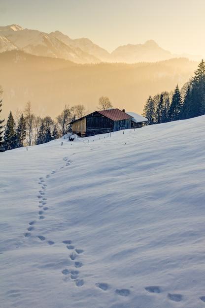 Impronte nella neve verso la cabina di legno nelle montagne dell'algovia Foto Premium