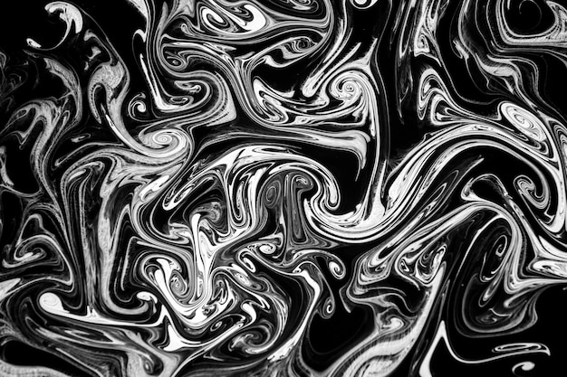 Inchiostro di texture astratta su acqua in bianco e nero di colore per lo sfondo Foto Premium